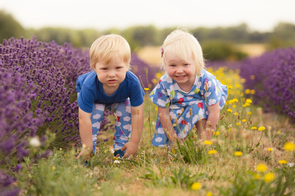 Cheeky twins in lavender