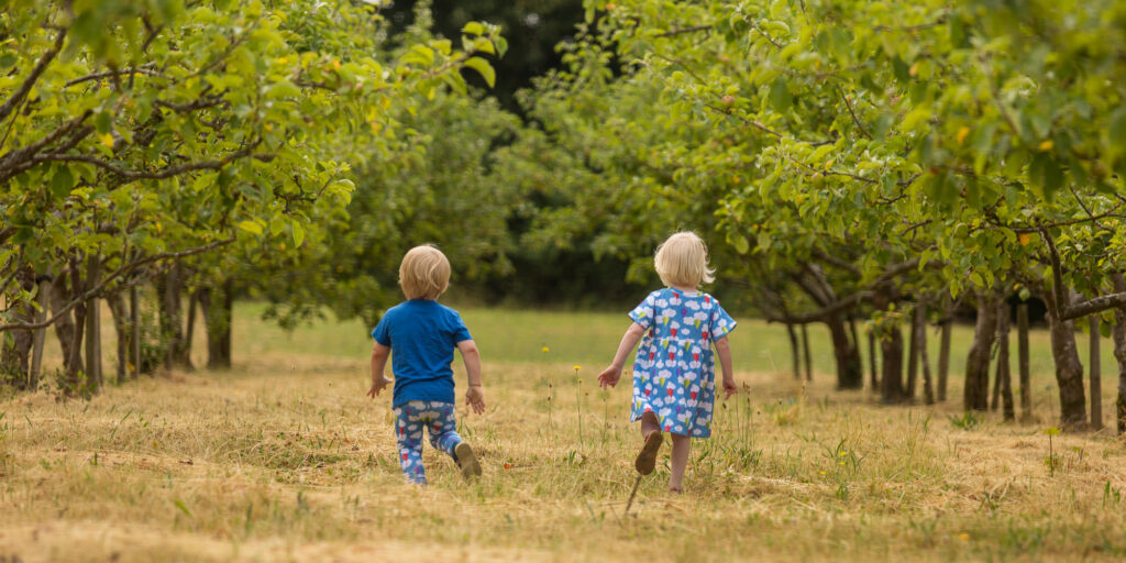 Twins in orchard