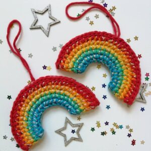 rainbow Christmas crochet decoration