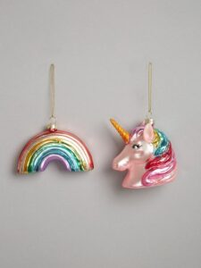 Rainbow and unicorn baubles