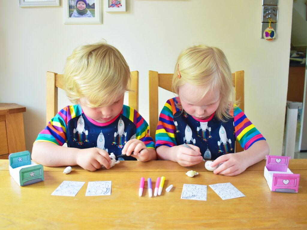 Twins using Fuzzikins Fuzzi Babies sets