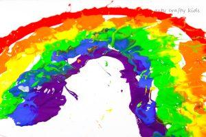 straw blowing rainbow art