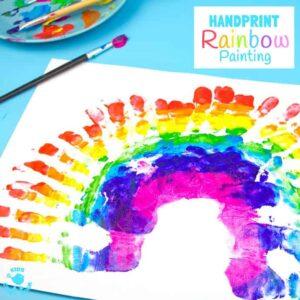 rainbow handprint painting