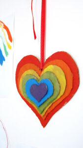 rainbow hearts craft