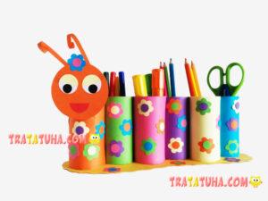 Caterpillar pencil holder