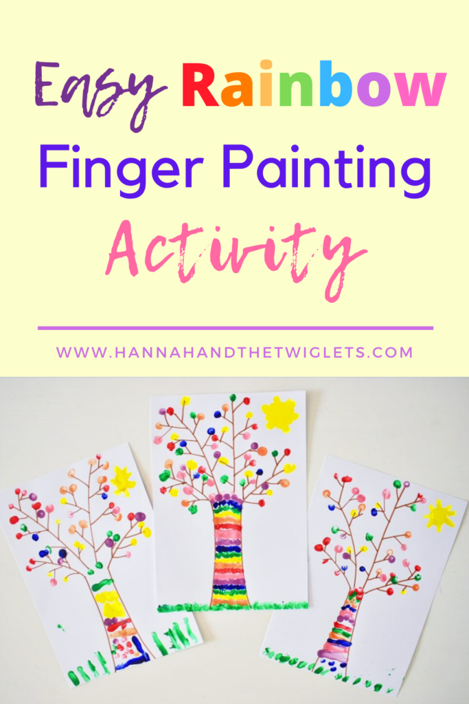 rainbow finger paint tree craft
