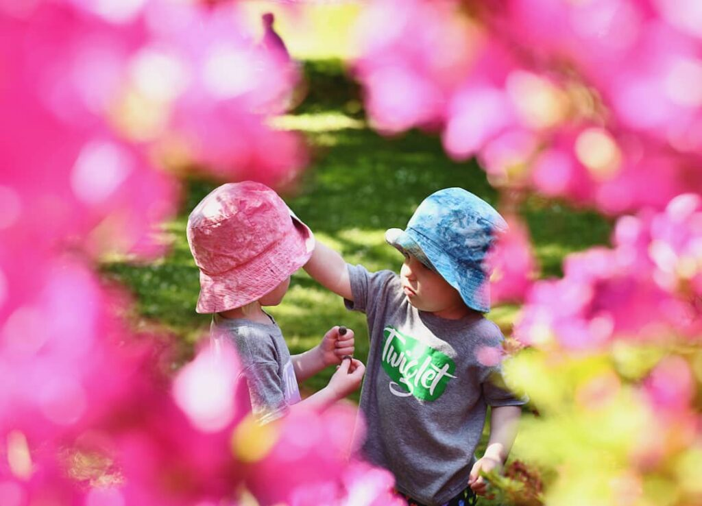 pink flowers photo with kids