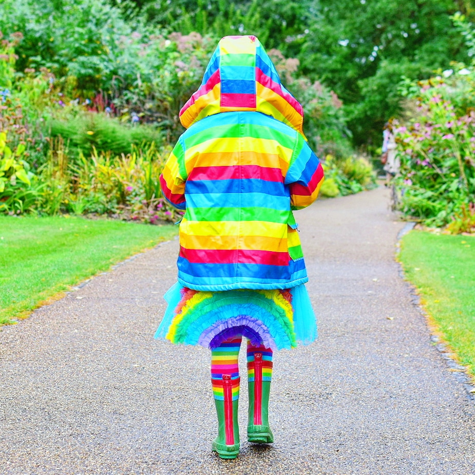 girl in rainbow outfit
