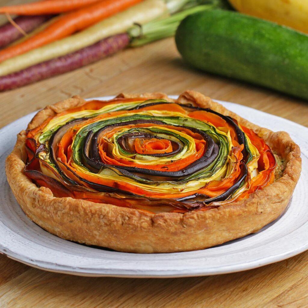rainbow vegetable and pesto tart