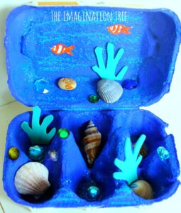 egg carton ocean craft idea