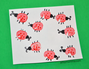 carrot stamped ladybirds craft