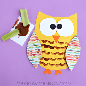 celery stamping owl craft activity for kids