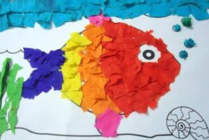 rainbow fish collage