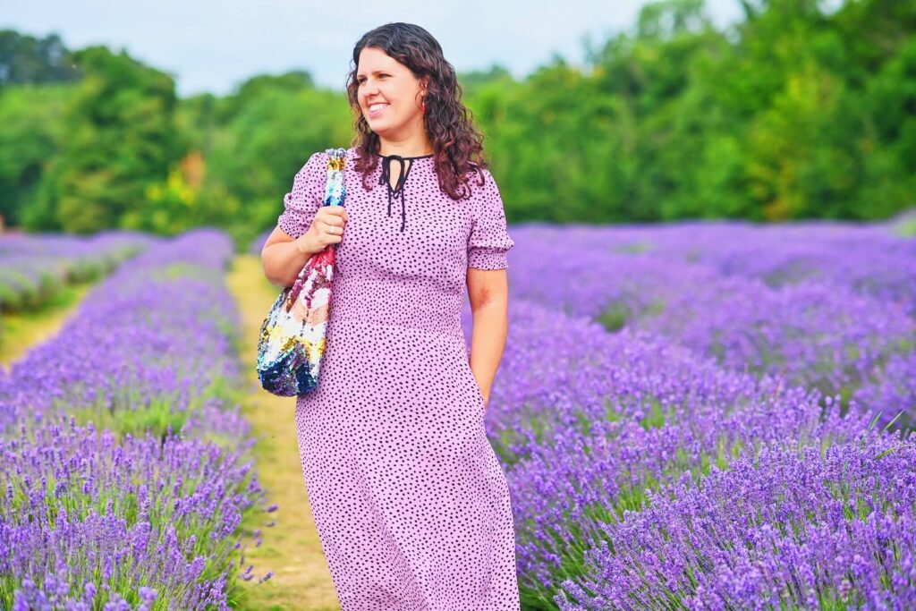 Woman posing in lavender field