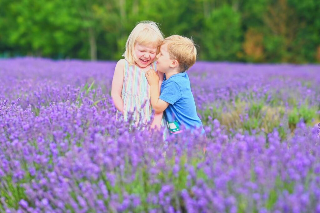 twins playing at Mayfield Lavender Farm