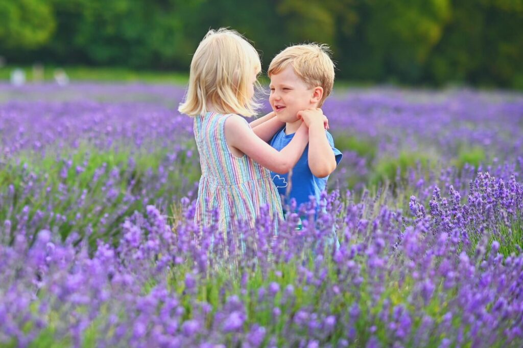 Twins on a visit to Mayfield Lavender Farm
