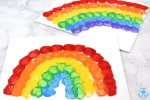 rainbow cotton ball colourful stamping activities for kids