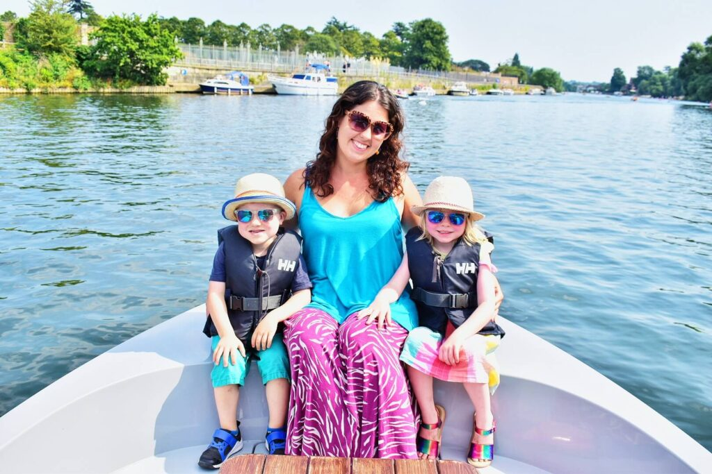 Mother and twins on a GoBoat