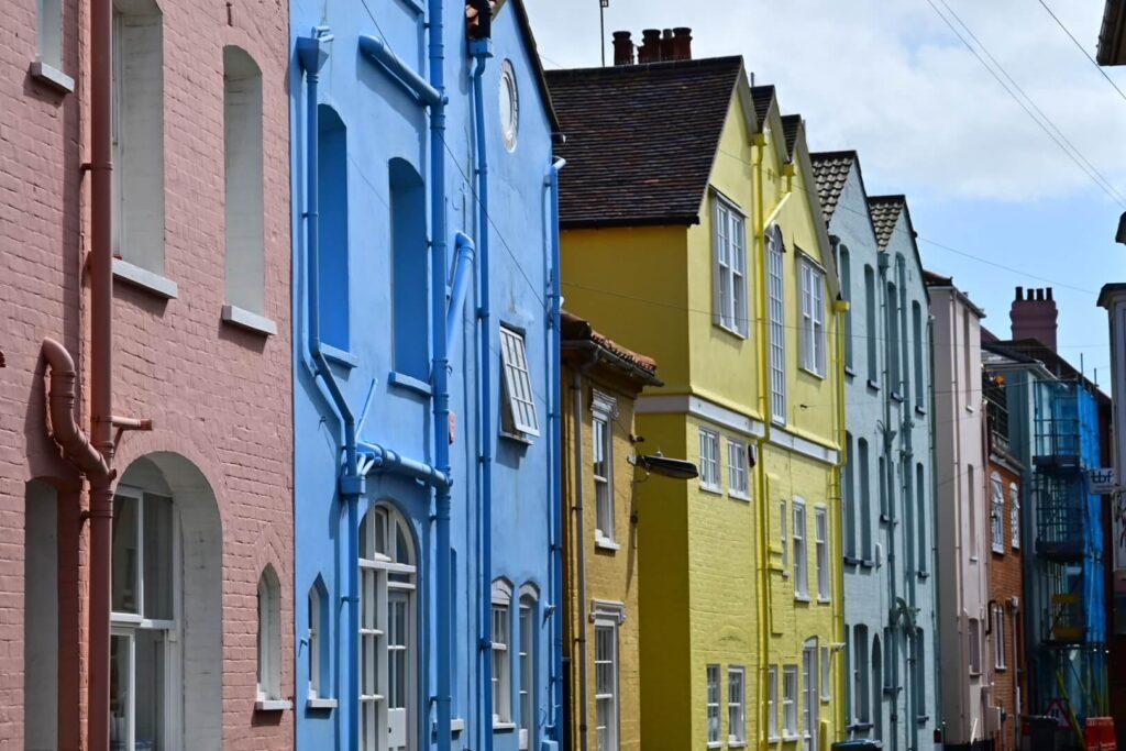 Colourful buildings in Aldeburgh