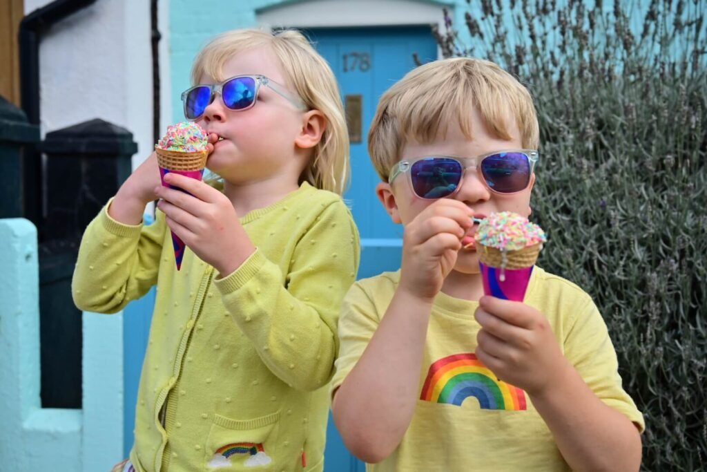 Ice cream with rainbow sprinkles in Aldeburgh Suffolk family holiday