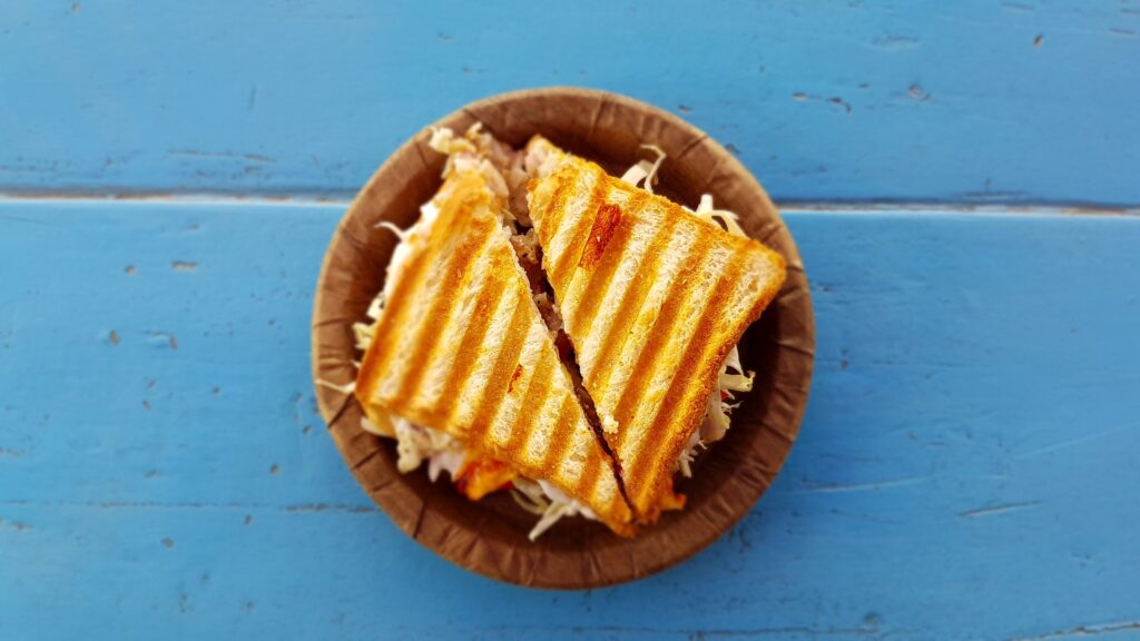 toasted sandwich for lunch on a disastrous family beach day
