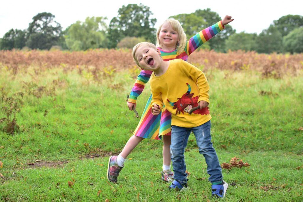 Adjusting back into school life boy and girl playing