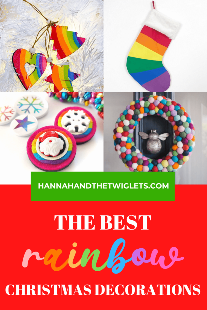 The best rainbow Christmas decorations Pinterest