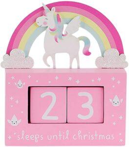 rainbow unicorn Christmas countdown